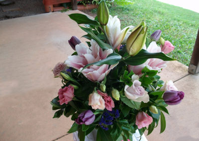 Rose Lilies, Tulips, Lissianthus & Roses Arrangement