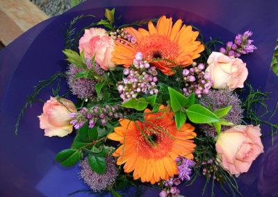 Mixed purple & orange bouquet