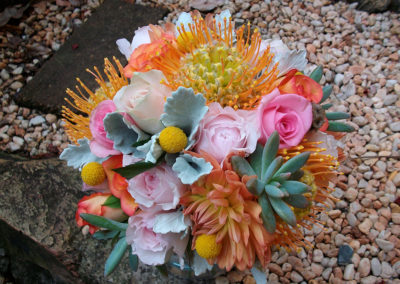 Summer wedding bouquet with succulents