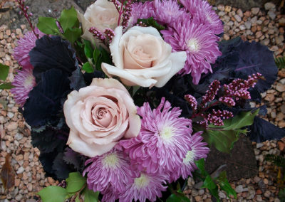 Retro bouquet with Kale, Roses & Chrysanthemums