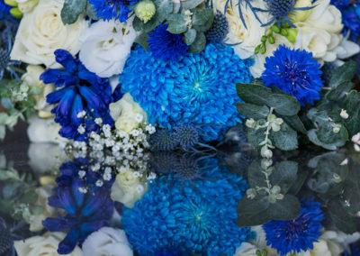 Cornflower, Hyacinths, Sea holly, Chrysanthemums,Roses & Babies breathe